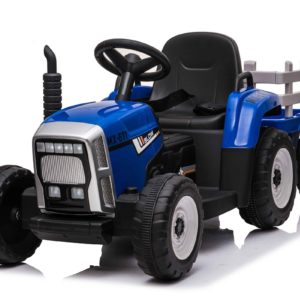 Blue R:C Twin Motor Tractor & Trailer - 12V Kids' Electric Ride On